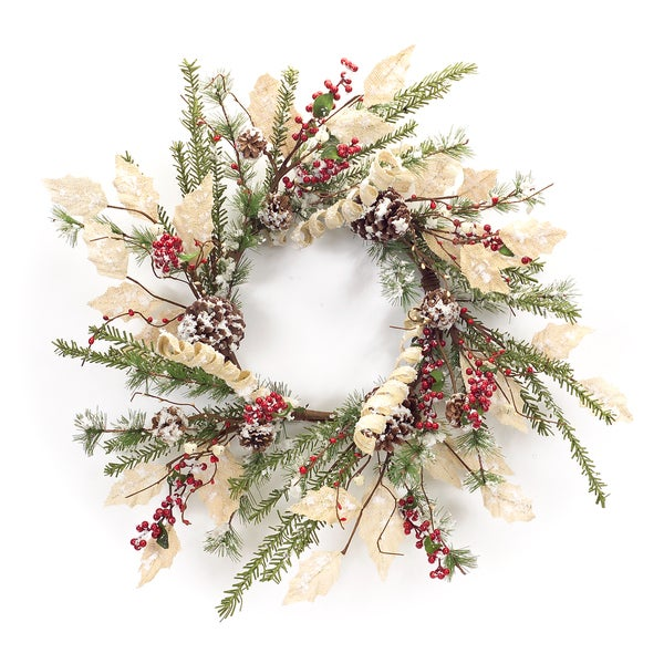 Frosted Berry/Pinecone Wreath