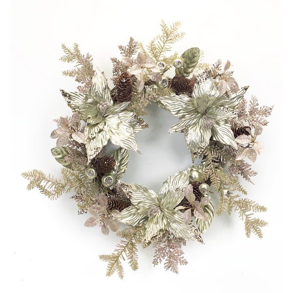 Gold/Silver Polyester/Plastic Metallic Poinsettia Wreath