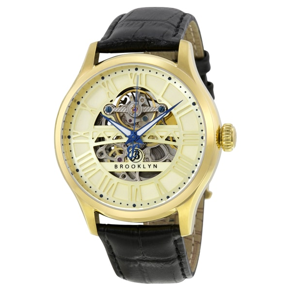 Brooklyn Watch Co. Bridgewater Skeleton Mens Automatic Gold Tone Dial Watch