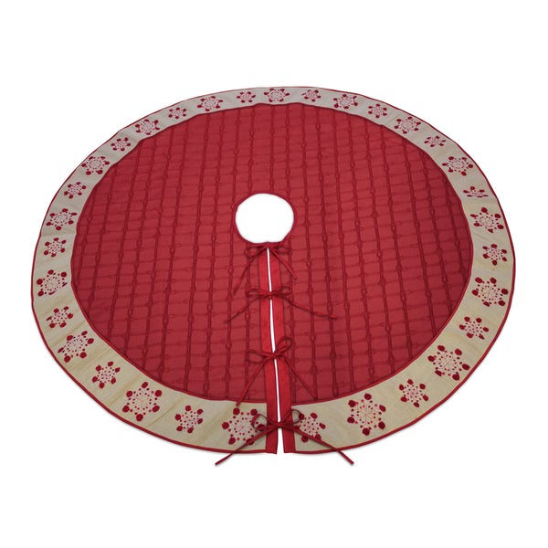 Red Polyester Snowflake Tree Skirt