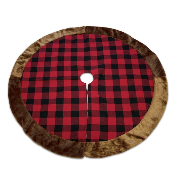 Black/Red Polyester Plaid Tree Skirt