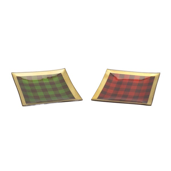 Red/Green/White Glass Plaid Plates (Pack of 2)