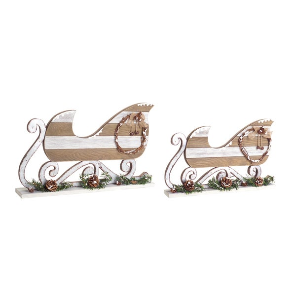 Wooden Sleighs (Set of 2)