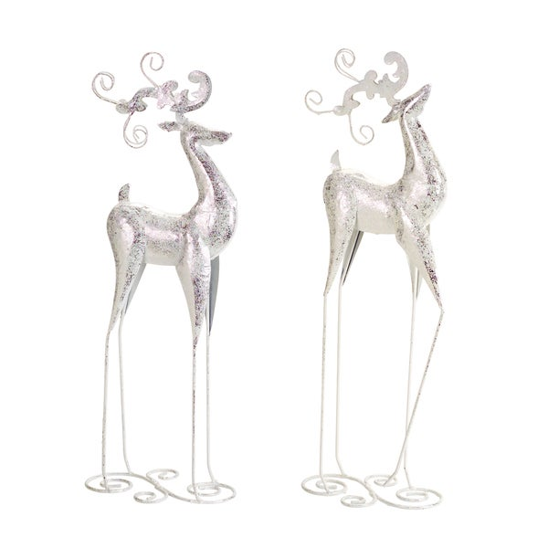 White/Silver Metal Tall Deer (Pack of 2)