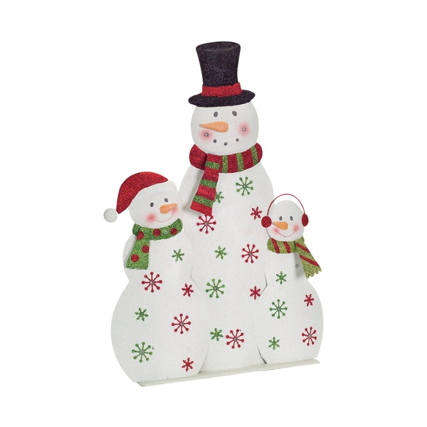White/Red/Green Metal LED Snowmen Trio