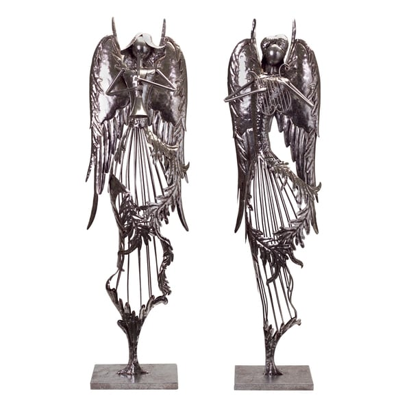 Silver Metal Musical Angels (Set of 2)