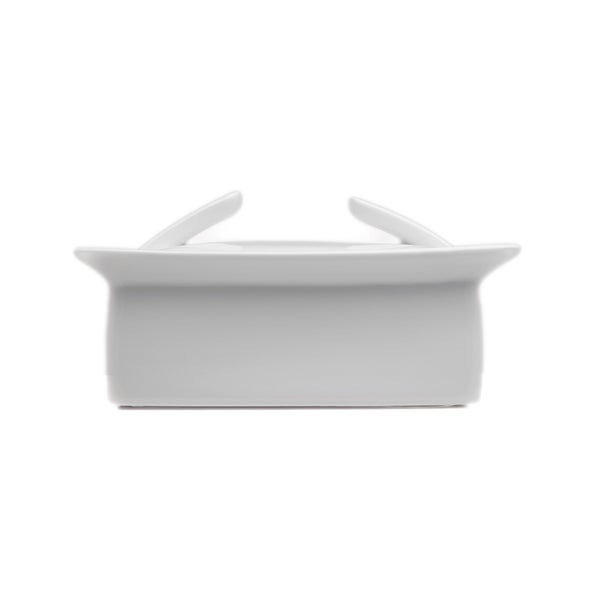 Concavo White Porcelain 2.25-inch Covered Butter Dish