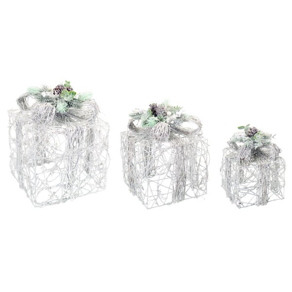 LED Snowy Gift Boxes (Set of 3)