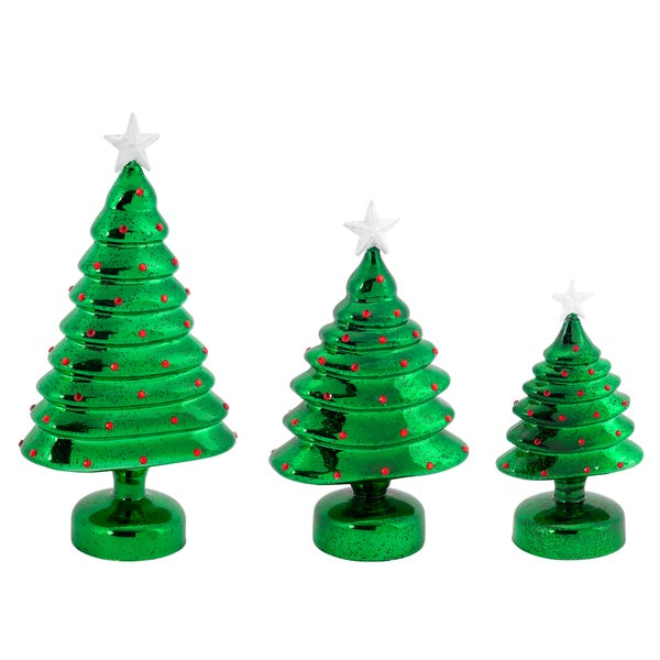Red/Green LED Mercury Glass Trees (Pack of 3)