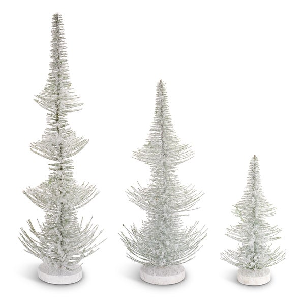 White/Green Plastic Frosted Pine Trees (Pack of 3)
