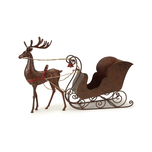 Metal Deer with Sleigh Figurine