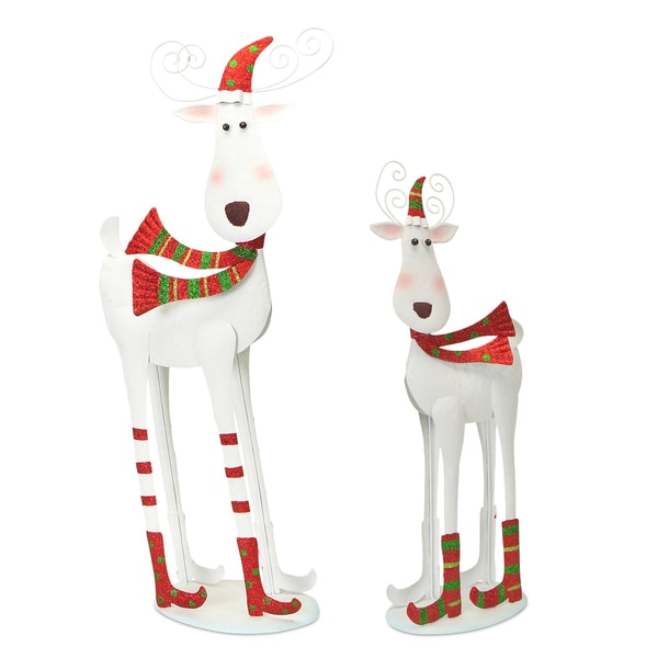 White/Red/Green Metal Bobblehead Reindeer (Set of 2)