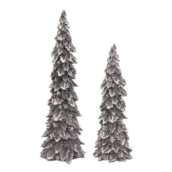 White/Silver Holly Trees with Pinecone Details (Set of 2)