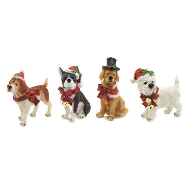 White/Red/Brown Christmas-themed Dog Figurines (Set of 4)