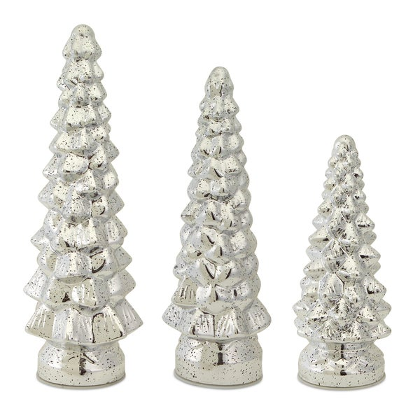 Silvertone Mercury Glass Light-up Trees (Pack of 3)