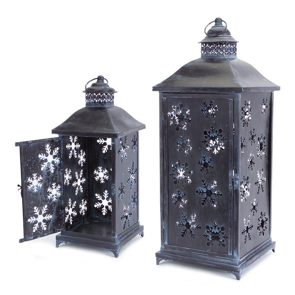 Black/Grey Lantern with Removeable Snowflake Inserts and Glass (Set of 2)