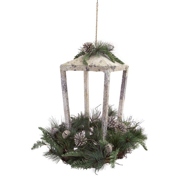 Green/Grey Plastic Lantern with Faux Pine and Jingle Bells