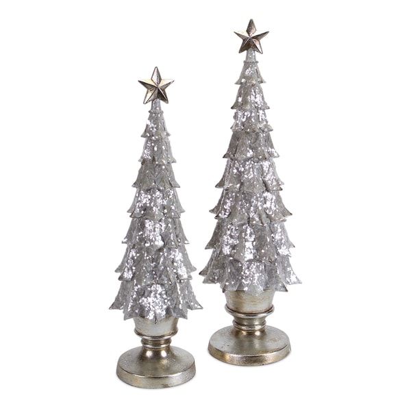 White/Gold Christmas Tree (Pack of 2)