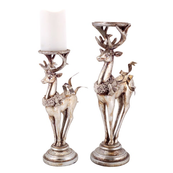 Silver/Platinum Deer Candle Holders (Set of 2) 21102336