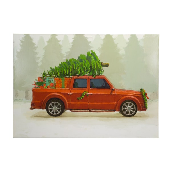 Red/Green Wood Vintage Holiday Car Print