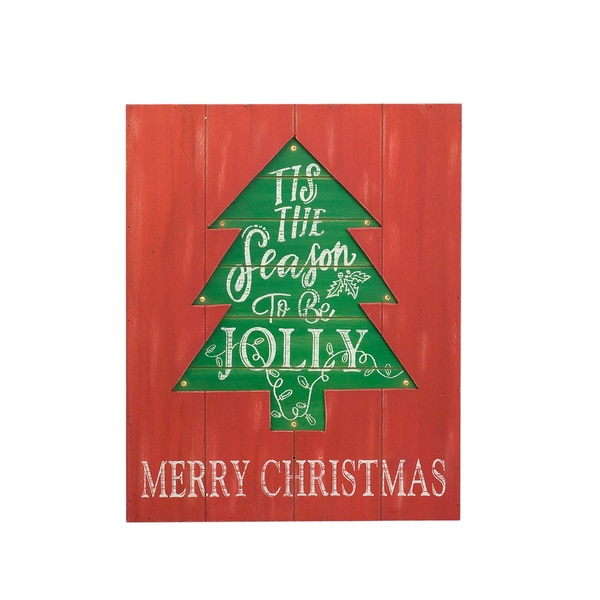 Red/Green Wooden LED Tree Wall Plaque
