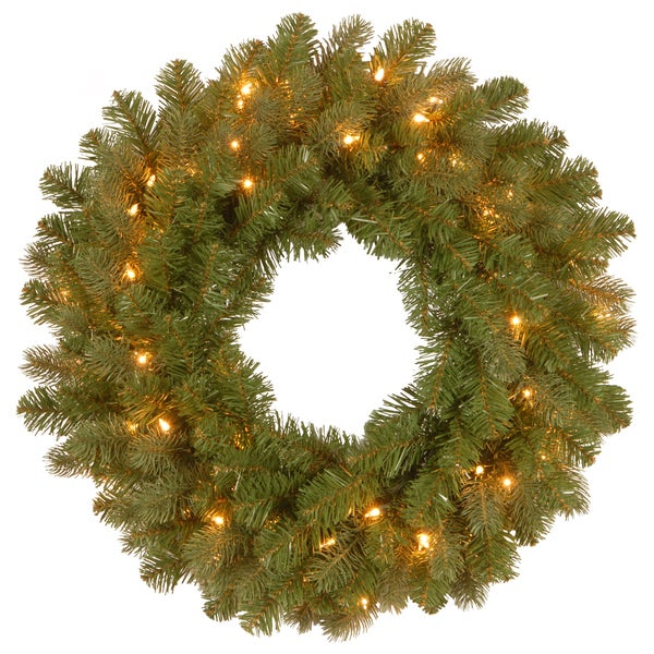 24-inch Downswept Douglas Wreath with Warm White LED Lights