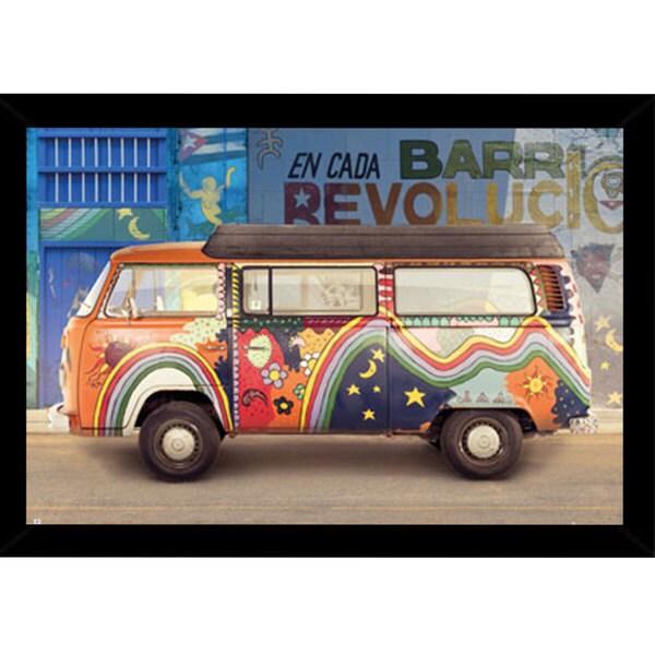 VW Camper Cuba' 24-inch x 36-inch Black Wood Framed Print