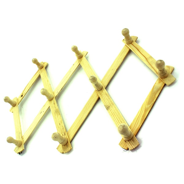 Wooden Expandable Hat, Cap, Belt, Umbrella Wall Racks with Pegs (Set of 2) 21102700