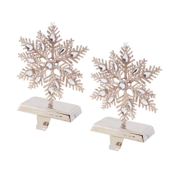 Glittered Snowflake Stocking Holder (set of 2)