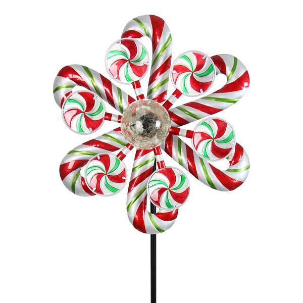Solar Kinetic Christmas Candy Cane Garden Stake 21102785