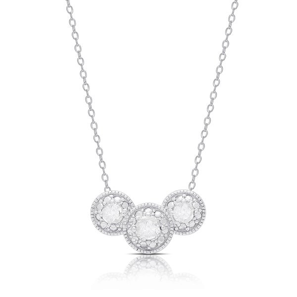 Finesque Sterling Silver .45ct TDW Diamond Three Stone Necklace
