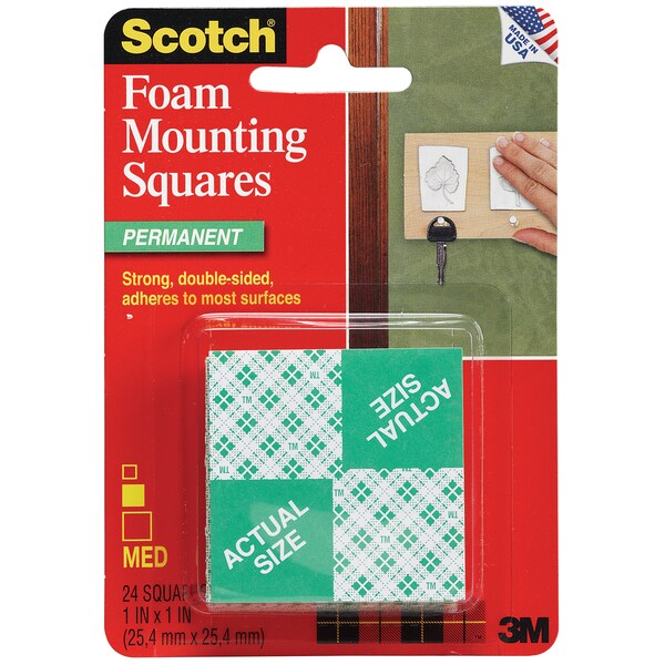"3M 111-24 1"" X 1"" Scotch Mounting Squares 24-count"