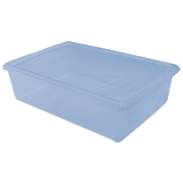 "Iris USA INC 101547 16-1/8"" X 24-3/16"" X 6-5/16"" Soft Blue Plastic Modular Box"