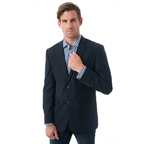 Men's Black Slim-fit Notch Lapel Blazer