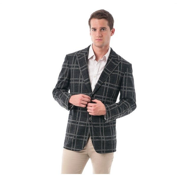 Men's Black and Grey Bold Plaid Wool Blend Peak Lapel Blazer