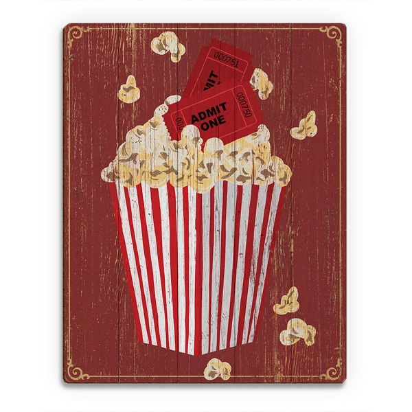 Popcorn With Admission' Wooden Wall Art