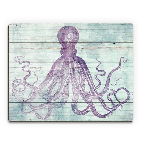 Mauve 'Vintage Octopus' Wood Wall Art 21106378