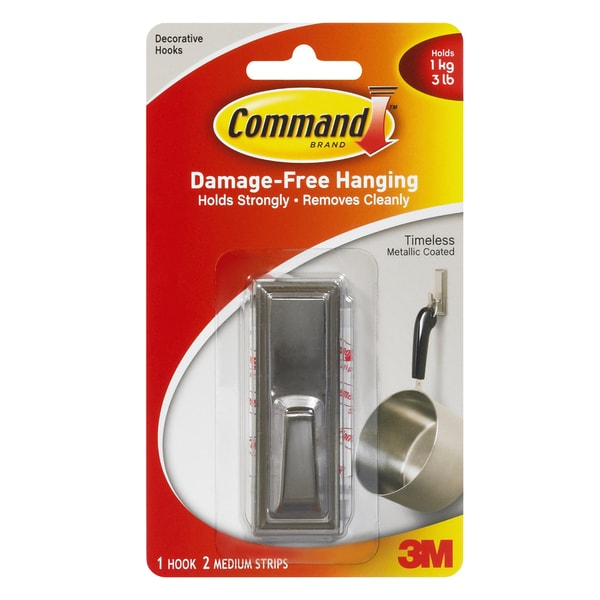 Command Strips 17061BN Medium Brushed Nickel Command Timeless Hook