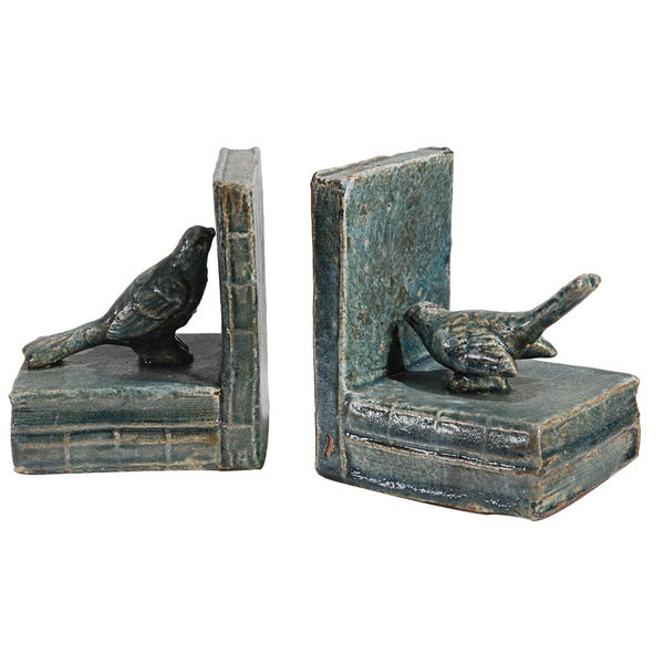 Bird Motif Grey Ceramic Bookends
