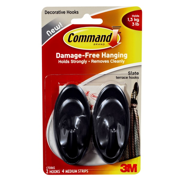 Command Strips 17086S Medium Slate Outdoor Terrace Hooks 2-count