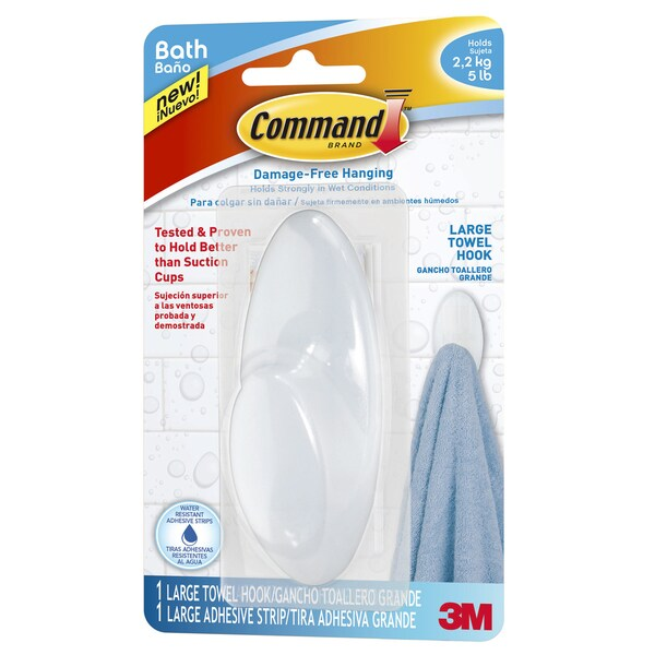 Command Strips BATH17-ES Command Large Frosted Towel Hook 21106915