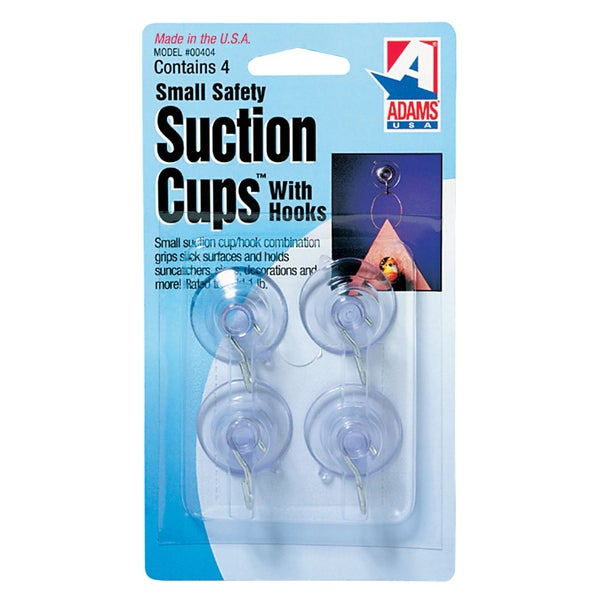 "Adams 7500-77-3040 1-1/8"" Suction Cup With Metal ""U"" Hook 4-count 21107002"