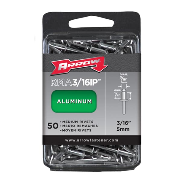 "Arrow Fastener RMA3/16IP 3/16"" Medium Aluminum Rivets 50-ct"