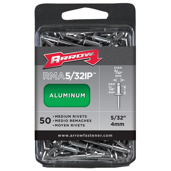 "Arrow Fastener RMA5/32IP 1/4"" Medium Aluminum Rivets 50-ct"