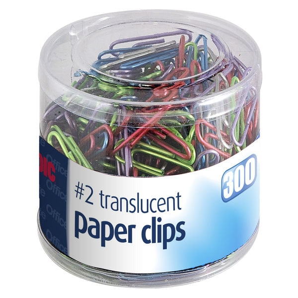 Officemate International 97633 #2 Translucent Vinyl Paper Clips Assorted Colors 300 Count