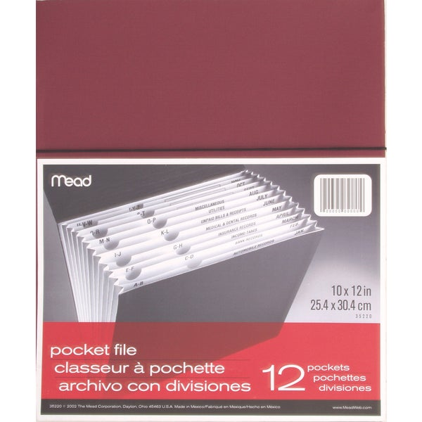 "MeadWestvaco 35220 8-1/2"" X 11"" 12 Pocket All Purpose File Assorted Colors"