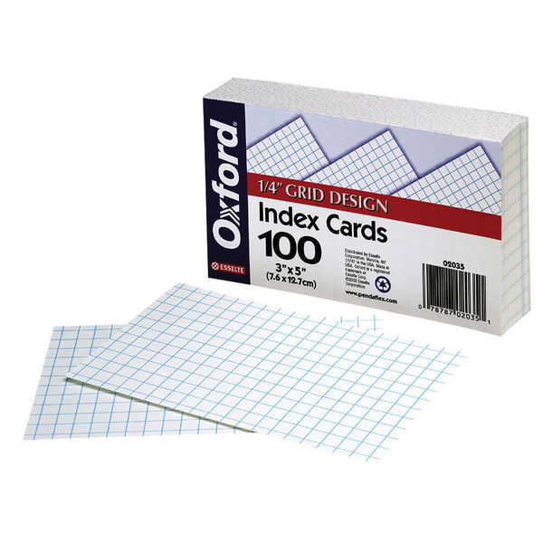 """Oxford 2035 100 Count 3"""" x 5"""" White Grid Ruled Index Cards"""