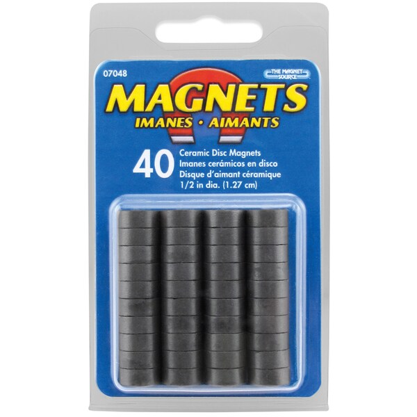 "Master Magnetics 07048 .5"" X .187"" Value Pack Ceramic Disc Magnets 40 Count"
