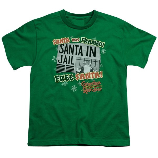 Grandma Got Run Over By A Reindeer/Free Santa Short Sleeve Youth 18/1 Kelly Green