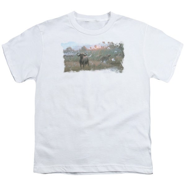 Wildlife/Cape Buffalo Short Sleeve Youth 18/1 in White